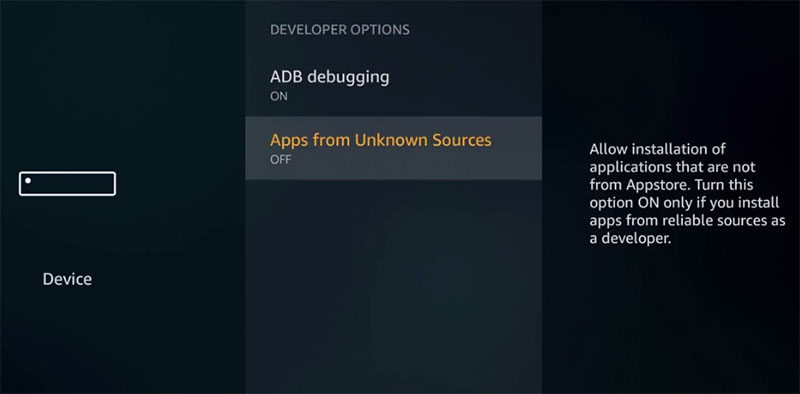 Apps from unknown Sources firetv